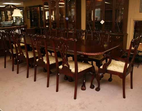 . Mahogany Chippendale Dining Table with 10 Chairs
